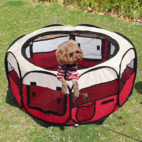 CellDeal Folding Fabric Pet Play Pen Puppy Dog Cat Rabbit Guinea Pig Playpen Run Cage Red