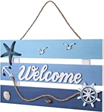 """Homemaxs Welcome Sign,Beach Decor Wall Decor Premium Solid Wooden 16.5""""X14""""Large Size Hanging Sign with 3D Beach Style for Home"""
