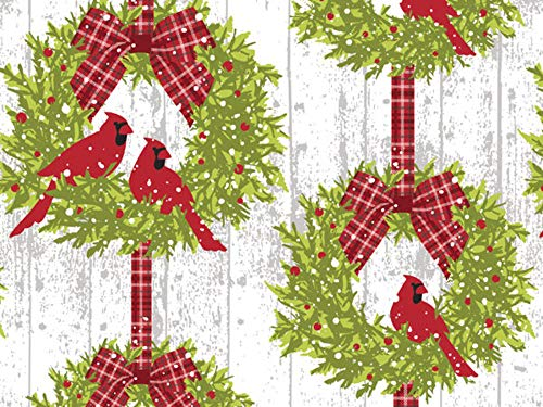 Cardinal Wreath Wrap Wrapping Paper - 24 Inches x 15 Feet Roll