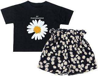 Sxgyubt - Juego de 2 piezas para niña con diseño de margaritas de flores pequeñas, camiseta de manga corta + pantalones co...