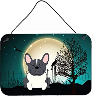 """Caroline's Treasures BB2202DS812 Halloween Scary French Bulldog Black White Wall or Door Hanging Prints, 8"""" x 12"""", Multicolor"""