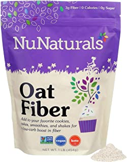NuNaturals All Natural Oat Fiber, Non-GMO Certified, 1 lb