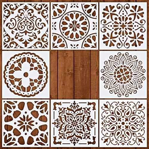 ifundom 8 plantillas de mandala, 15,9 x 15,9 cm, reutilizables, para suelo/azulejo/pared/muebles, hacer tu propio proyecto de arte