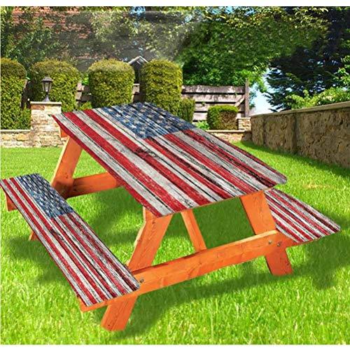 Mantel ajustable para mesa de picnic y banco de EE.UU., 40 de julio, con borde elástico, 70 x 72 pulgadas, juego de 3 piezas para camping, comedor, exterior, parque, patio