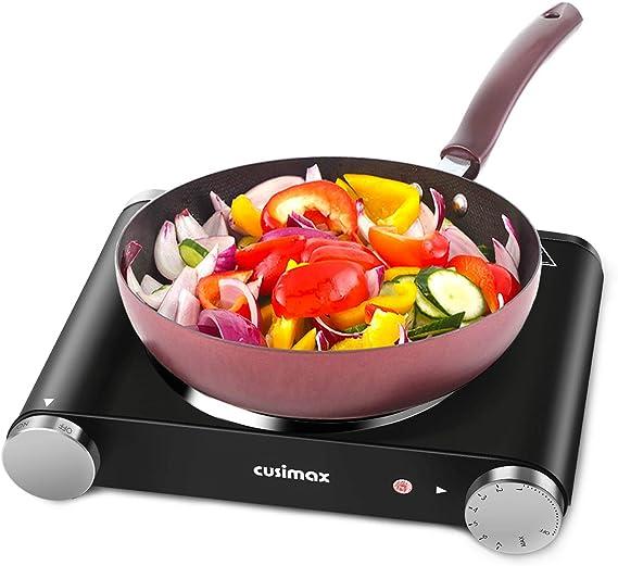 Cusimax Hot Plate Portable Electric Stove Countertop Single Burner 1500W with Adjustable Temperature Control & Non-Slip Rubber Feet
