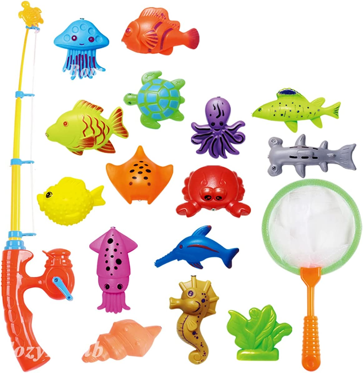 CozyBomB Kids Fishing Bath Toys Game - 17Pcs Magnetic Floating Toy Magnet...