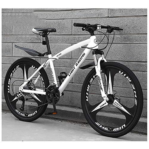 KXDLR Mens Bicicleta De Montaña, La Suspensión Delantera, 26 Pulgadas, Llantas, De 17 Pulgadas Marco De Aleación De Aluminio con Doble Freno De Disco,Blanco,21 Speed