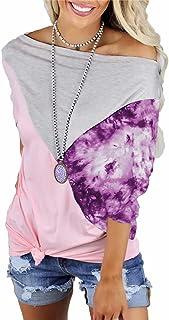 LYAZFC Damen Sommer Multicolor One-Neck Print Nähte Kontrastfarbe lockeres lässiges T-Shirt Top