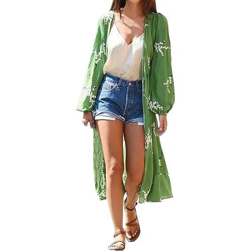 16dbf2a40e Anglewolf Women Floral Bohemian Chiffon Kimono Dress Open Front Cardigans  Long Blouse Streetwear Cover Ups Beachwear