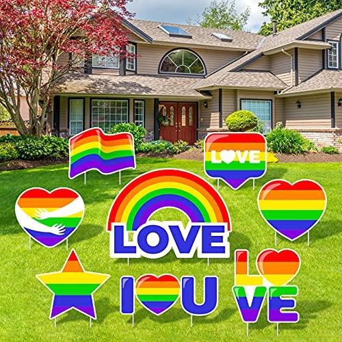 Elcoho 8 Pieces Gay Pride Lawn Sign Rainbow Gay Party Yard Signs Plastic...