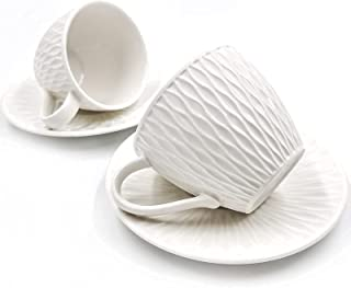 Amazon Brand – Umi Tasses à café en porcelaine 12pièces, 200ml/198,5grammes Tasse à café en céramique, Tasses à cappucc...