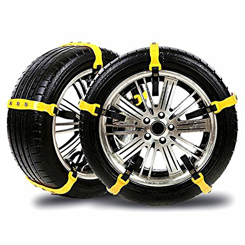Snow Chains Car Anti Slip Tire Chains Adjustable Anti-Skid Chains Car Tire Snow Chains Fits for Most Car/SUV/Truck-Set of 10 Width 185-295mm/7.2-11.6'' (Snow chains001)