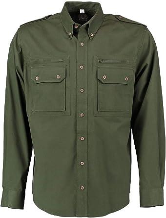 OS Trachten Camisa de caza para hombre, color verde oscuro
