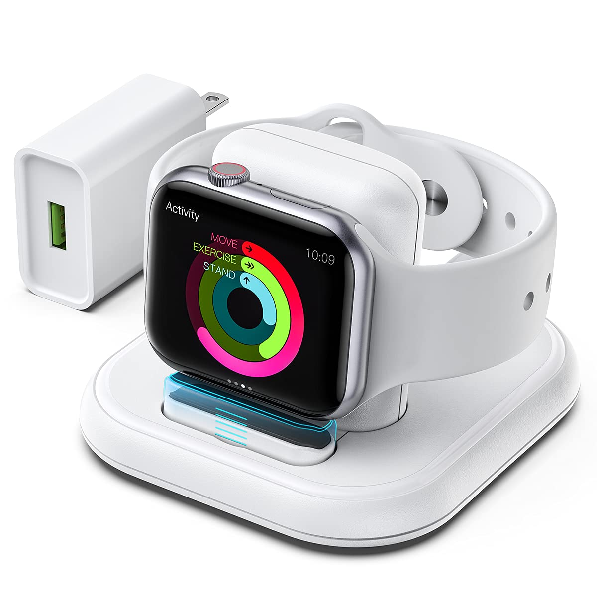 Lueruni Charger Stand for Apple Watch, Watch Charger Dock Compatible withiWatch Series SE/6/5/4/3/2/1/44/40/42/38mm, Built-in Magnetic Wireless Charging Station White (Include: Adapter& USB Cable)