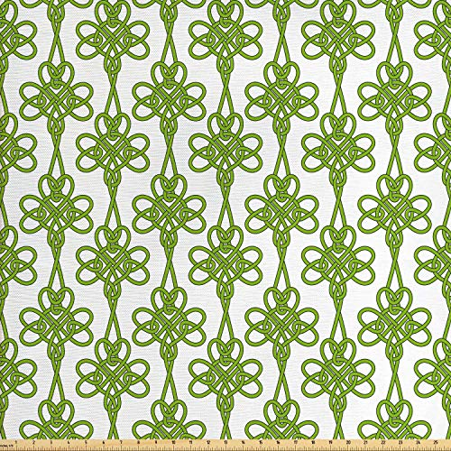 Ambesonne Irish Fabric by The Yard, Entangled Clover Leaves Twigs Celtic Pattern Botanical Filigree Inspired Retro Tile, Decorative Fabric for Upholstery and Home Accents, 1 Yard, Cream Green