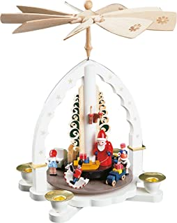 Pinnacle Peak Trading Company Toyland Santa White German Christmas Pyramid Handcrafted in Germany New Carousel