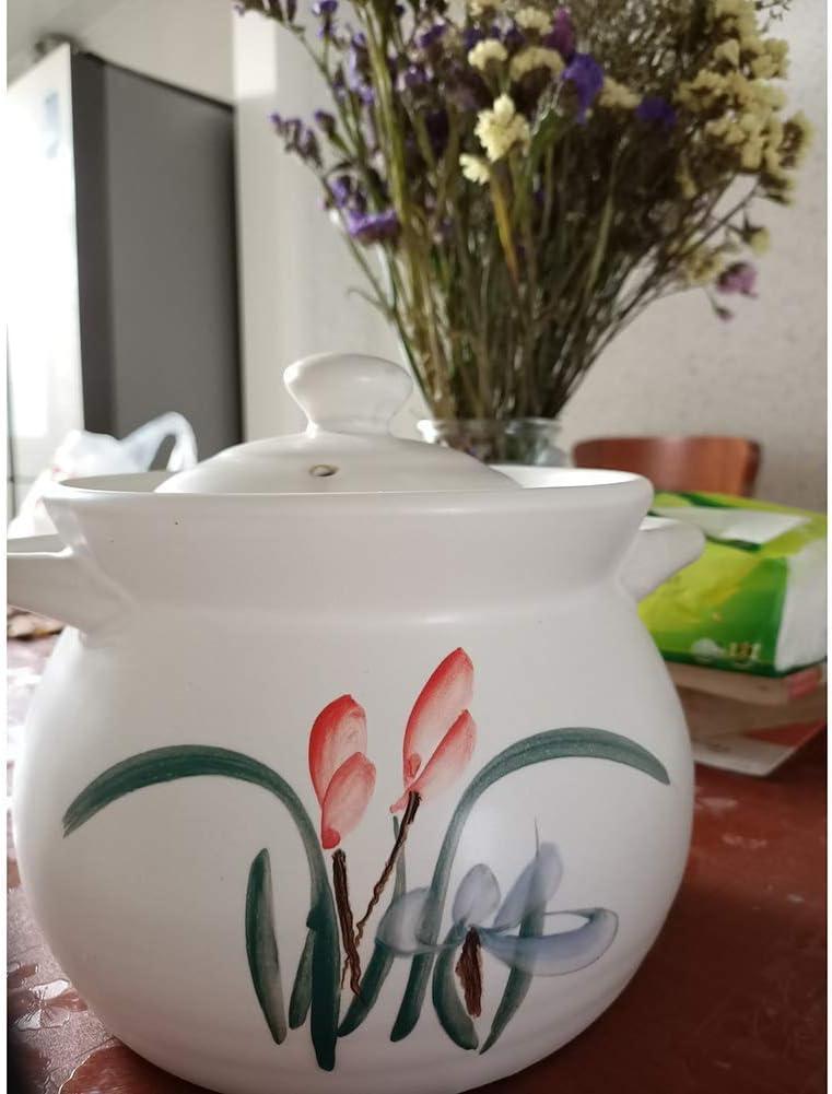 LIUSHI Ustensiles de Cuisine Faits à la Main en Terre Cuite Pot à Soupe avec Couvercle et poignée Pot sain Plat Chinois en céramique Profonde Bai 2.74quart 3.59quart