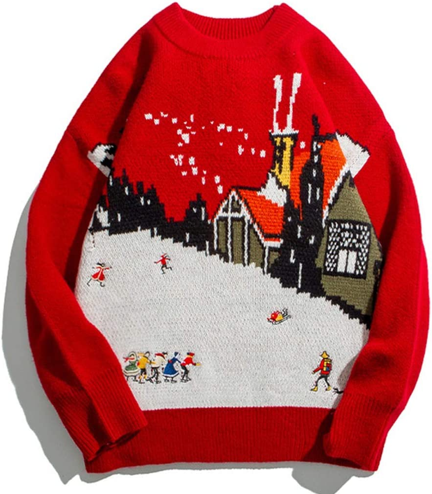 TWDYC Mens Embroidery Knitted Snow Ugly Christmas Sweaters Streetwear Winter Casual Loose Xmas Holiday Party Pullover Tops (Color : Red, Size : XXL-length-72CM)