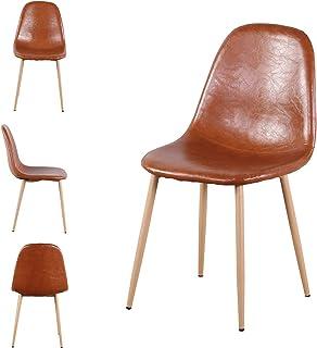 N/A Sillas de Comedor Juego de 4 sillas de Cocina Modernas con Respaldo de cojín de Tela Asientos de Sala de Estar de Mediados de Siglo con Patas de Metal para Cocina Comedor (Marrón)