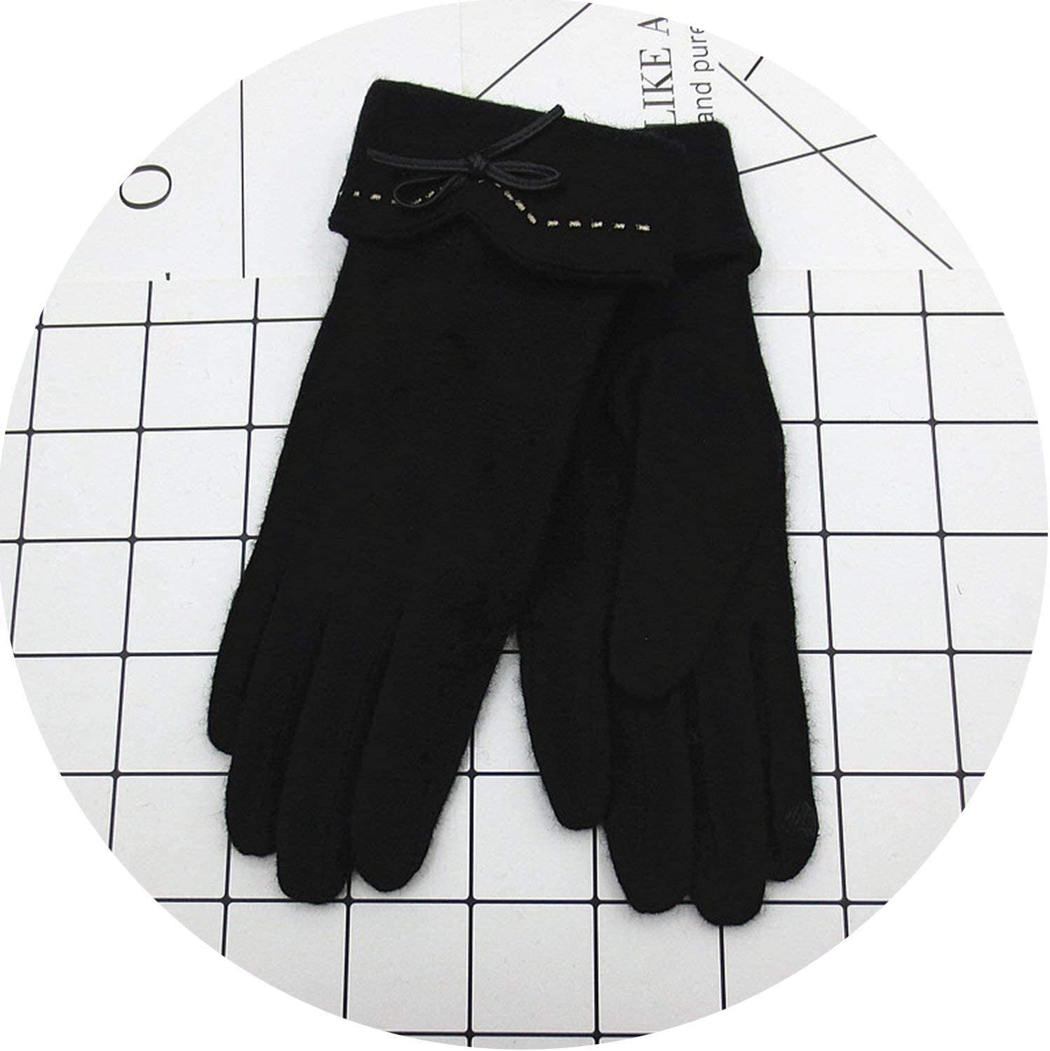 Samantha Warm Gloves Elegant Female Wool Knit Touch Screen Gloves Winter Women Keep Warm Cashmere Full Finger Leather Bow Dotted Gloves (Color : A Black, Size : Oneszie)