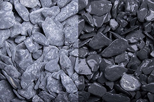 Kies Splitt Zierkies Edelsplitt Canadian Slate schwarz getrommelt, 15-30mm Big Bag 500 kg