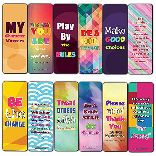 Creanoso Good Character Bookmarks (60-Pack) – Six Assorted Quality Bookmarks Bulk Set – Premium Gift for Bibliophiles – Awesome Bookmarks Giveaways – Stocking Stuffers Gift Ideas – Page Clips