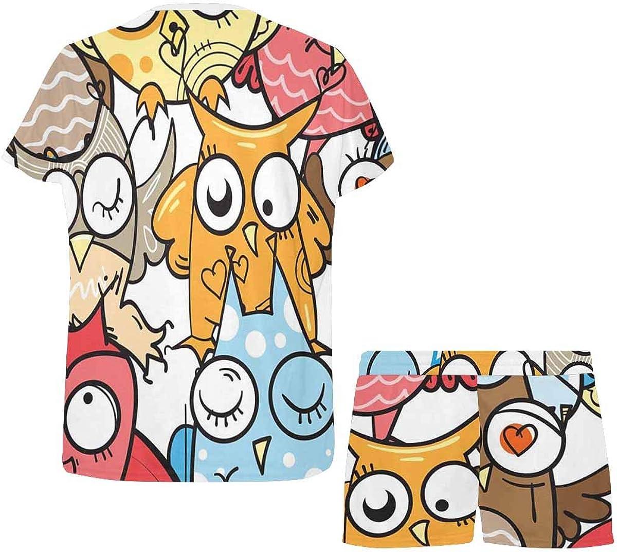 INTERESTPRINT Cartoon Owls Colors Women's Lightweight Pajama Set, Short Summer Pjs