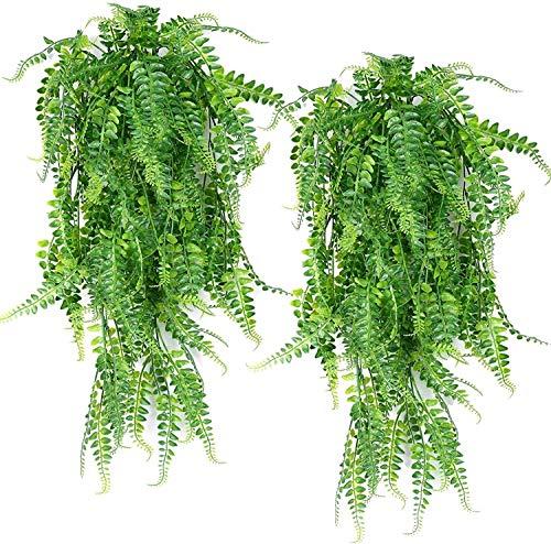 Antspirit Künstliche hängende Reben Farne Pflanzen gefälschte Efeublätter Girlandenrebe im Freien UV-beständige Kunstplastik hängende Pflanze für Wand Innen hängende Körbe Hochzeit - 2Stck (Farne)