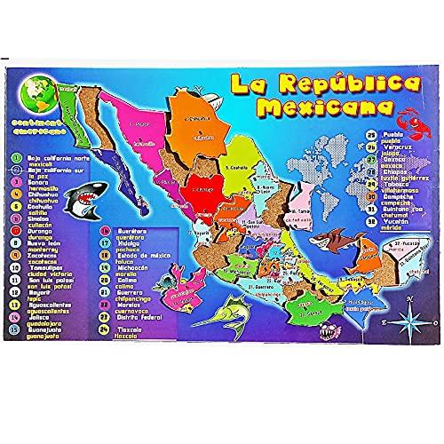 Rompecabezas de Madera Mapa de México con divisiones 40×26.5 cm