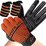 Workout Gloves for Men Weight Lifting with Wrist Support Full Finger Palm Protection Extra Grip Touchscreen Design for Cycling Gym Exercise Fitness Training Sports (Orange, Medium)