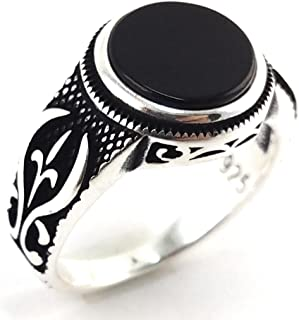 Onyx Stone Solid 925 Sterling Silver Turkish Handmade Ottoman Men's Ring Gift for Him