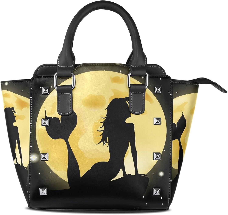 COOSUN Frauen Meerjungfrau Vollmond PU Leder Schultertasche Top-Griff Handtasche Tote Umhängetasche B010P1VCMI  Ein schönes Herz verfolgen