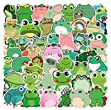 50PCS New Cute Frog Theme Sticker Decals Luggage Kettle Notebook Refrigerator Water Cup Guitar Bathroom Kitchen Children's Bedroom DIY Waterproof Graffiti Stickers