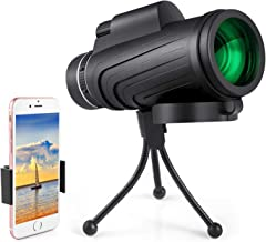 Monocular Telescope, Dual Focus Waterproof Spotting Scopes, Low Night Vision with Phone Clip and Tripod for Cell Phone Monocular