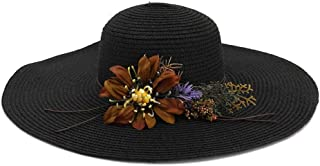 Flower Lady Beach Hat Big Along The Sunshade Holiday Sun Hat Fashion Elegant Straw Hat` TuanTuan (Color : Black, Size : 56-58CM)