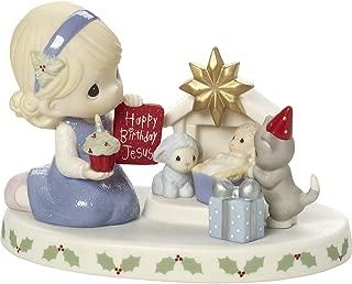 Precious Moments Happy Birthday Jesus Girl With Presents At Mini Creche Bisque Porcelain Figurine 171030