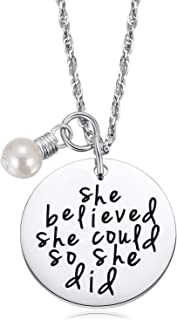 Necklaces for Teen Girls Women- She Believed She Could So She Did Necklace With Pearl,Inspirational Necklace Teenage Empowering Birthday Her