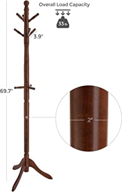 VASAGLE Coat Rack, Solid Wood Coat Stand, Free Standing Hall Coat Tree with 10 Hooks for Coats, Hats, Bags, Purses, for Entry