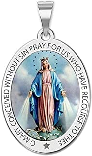 Miraculous Medal Necklace Color Oval Pendant - Available in Solid 14K Yellow or White Gold, or Sterling Silver
