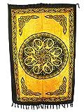 Sarong Pareo Keltisches Blumen Mandala gelb - orange/große Auswahl schönste Farben/Wickelrock Strandtuch Sauna-Tuch Wickelkleid Schal Wickeltuch Bademode Freizeitmode Sommermode/aus 100% Viskose
