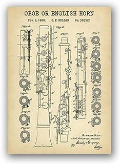 NOBRAND Instrumento de Viento Impresiones de Patentes Oboe English Horn Blueprint Poster Wall Art Canvas Painting Jazz Music Studio Decor Musician Gift-Rollo de Lona de 50x70 cm