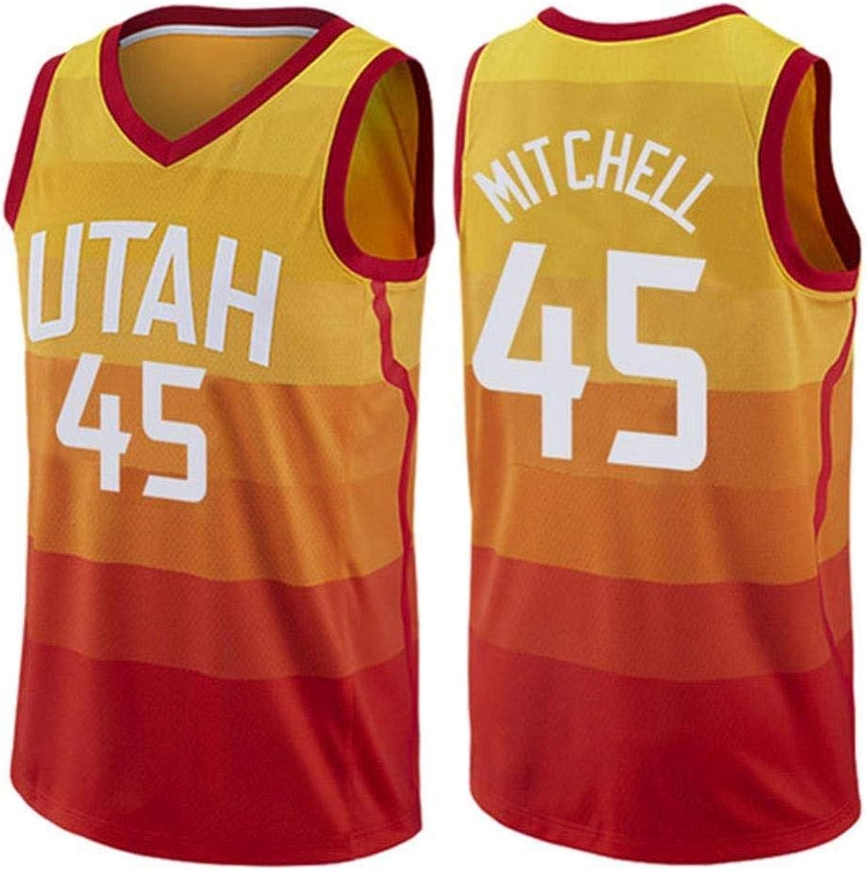 DFRTYE Basketballtrikot Donovan Mitchell   45 Herren Basketball Jersey - NBA Utah Jazz,Basketball Swingman Jersey Unterhemd rmellos,rot-M
