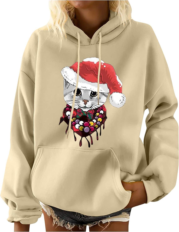 Women's Fall Winter Christmas Sweatshirts Cat Print Casual Crewneck Long Sleeve Pullover Tops Loose Fashion Shirts Beige