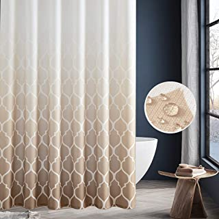 jinchan Waterproof Shower Curtain for Bathroom Quatrefoi Pattern 1 Panel 70 Inch by 72 Inch Taupe Ombre
