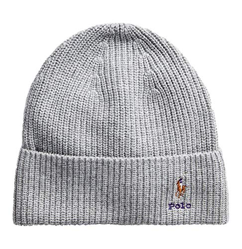 Polo Ralph Lauren Adult Wool Blend Ribbed Hat (Light Grey Heather(WC0229-015), One Size)