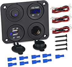 WATERWICH 3 Hole Marine Illuminated Toggle Rocker Switch Panel Waterproof Ignition Rocker Switch 12V-24V Volt Meter for RV Car Boat Trailer Vehicles Truck Yacht SUV