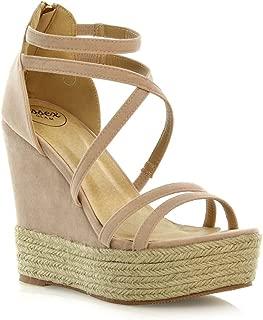Womens Espadrille Shoes Ladies Strappy Platform Wedge Heel Sandals