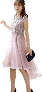 RUIRUE BOUTIQUE(ルイ?ルエ?ブティック) フィッシュテイル チュール & レース ドレス (U685) レディース パーティードレス パーティドレス ドレス パーティー パーティ 結婚式 フォーマル ミセス ひざ丈 袖つき 袖あり