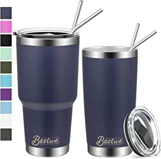 20oz and 30oz Stainless Steel Tumblers with Straws, Bastwe Double Wall Vacuum Insulated Travel Mug, Coffee Cup for Home, Office, School, Works Great for Ice Drink, Hot Beverage (2 Pack, Navy)