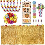 Belec Tropical Party Decorations Hawaiian Party Accessories - 9ft Hawaiian Table Skirt, Palm Leaves, Luau Flowers, Cocktail Umbrellas, 3D Fruit Straws, Tikki Bar Signs - Hawaiian Party Decorations